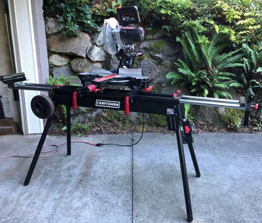 Photo Craftsman 10quot Miter wLaser Trac  Deluxe rolling stand - $325 (Seattle)