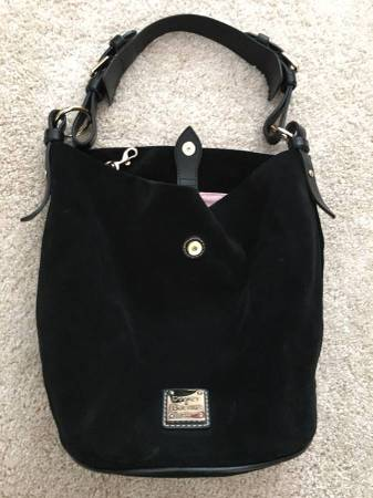 Photo Luxury Dooney and Bourke ALL BLACK SUEDE LEATHER bucket Handbag Purse - $70 (or make offer)