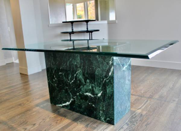Photo Marble Base  Glass Table Top Dining Room Table - $985 (North Bend)