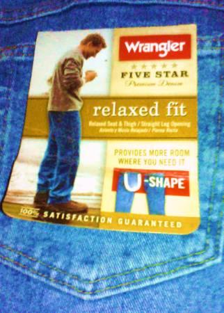 Photo Men39s Wrangler Jeans NEW 46 x 32 Never worn. Label still on. - $15 (Olympia)