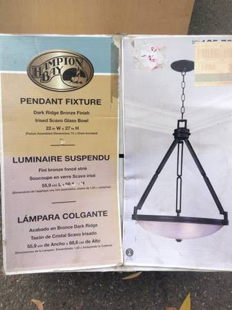Photo New Hton Bay 3-bulb Hanging Pendant Light in Oil Rubbed Bronze - $60 (Seattle)