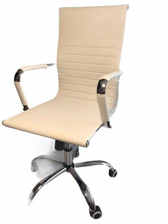 Photo New NWT White Leather Desk Chair  Office Chair Modern Swivel Mid Back - $280 (Ballard)