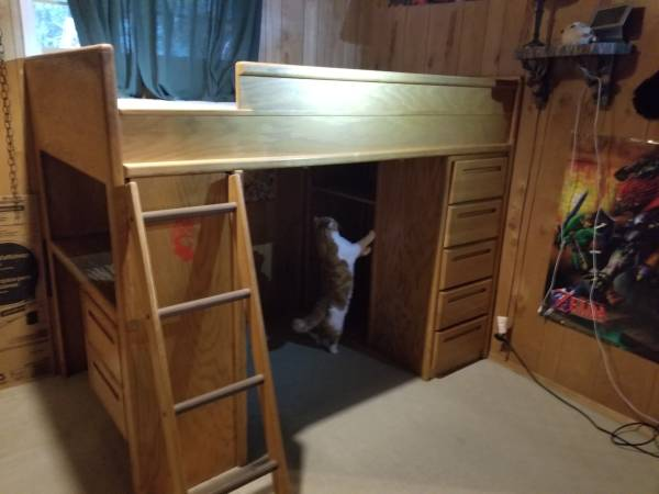 Photo Twin Loft Bed with drawers and desk - $200 (Gold Bar)