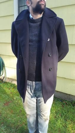 Photo Vintage Heavy Wool US Navy Pea Coat - $60 (Lake Forest Park)