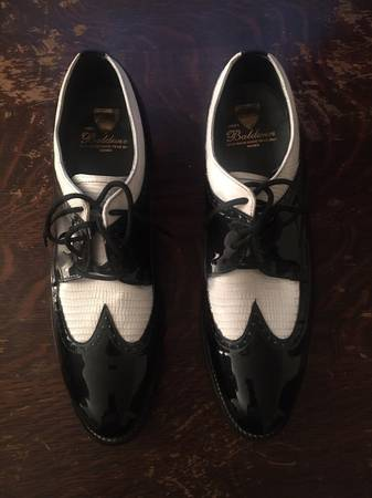 Photo Stacy Baldwin Wingtip Oxford Black and White Patent Leather Tuxedo Sho - $50 (Gridley)
