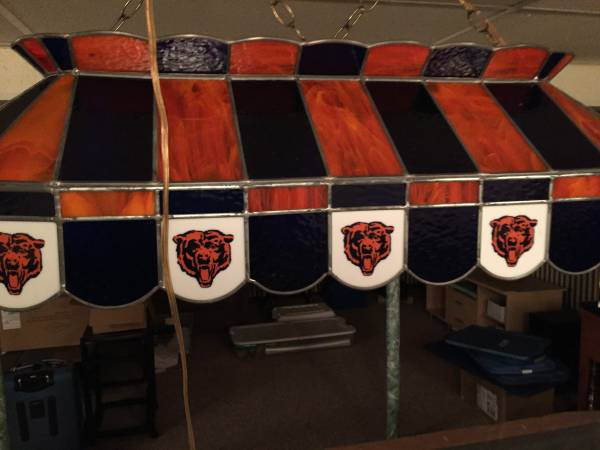 Photo Chicago Bears Stain Glass pool table light - $800 (Cape Girardeau)