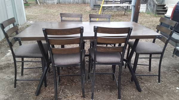 Photo Indoor outdoor wood and iron table with six chairs - $450 (Poplar Bluff)