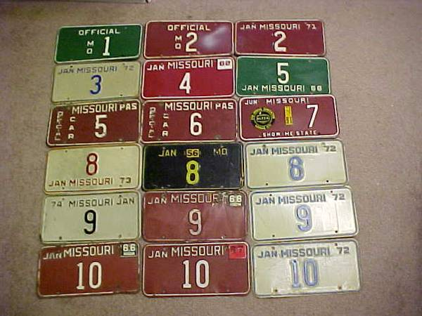 Photo Vintage MO License Plates - ALL years for sale - $1 (Cape Girardeau, MO)