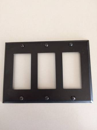 Photo Oil-rubbed bronze triple-gang switchplate with matching screws - $10 (Shorewood Hills)