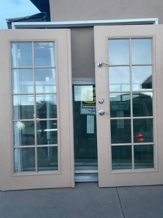 Photo French doors double pane metal exterior 72x80 with frame - $345 (West valley)