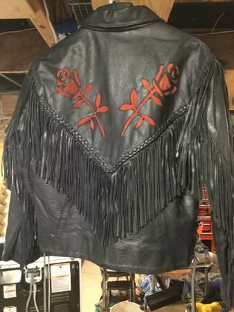 Photo Ladies Black Leather Fringe Motorcycle Jacket with Red Rose design - $50 (White Mountain Lake)