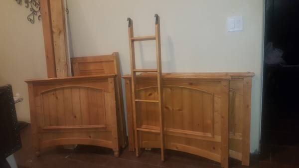Photo Wood bunk bed or two matching twin full size bunk beds frame headboard - $165