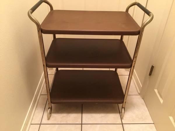 Photo Vintage Cosco Metal Faux Wood 3 Tier Rolling Tea Coffee Bar Cart - $35 (Bossier)