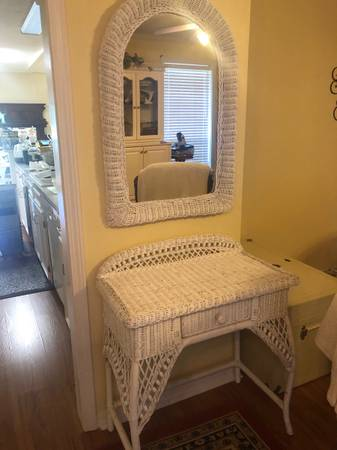 Photo White Wicker Table and Mirror - $300 (Barksdale AFB)