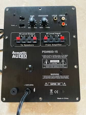 Photo ACOUSTIC AUDIO PSW600 SUBWOOFER POWER AMPLIFIER - $75 (SIERRA VISTA)