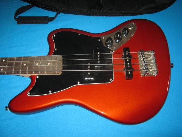 Photo Candy Apple Red Squier (Fender) Jaguar Bass (short scale) wpadded bag - $325 (Moson  Ramsey)