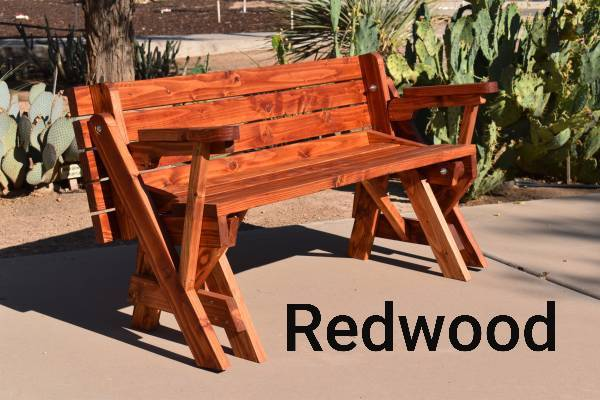 Photo Convertible Wooden Bench to Picnic Table - $225 (Maricopa)