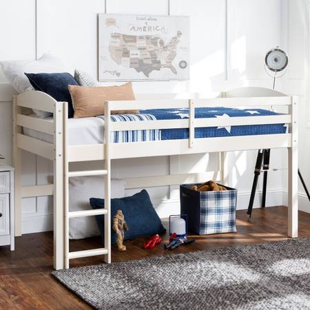 Manor Park Solid Wood Junior Twin Low Loft Bed, White - $185 (Hereford)
