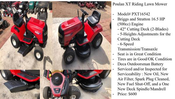Poulan Xt Riding Lawn Mower Model
