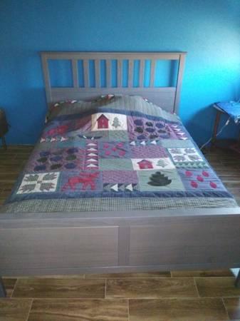 Photo Today only queen Ikea Hemnes bed gray - $250 (Sierra vista)