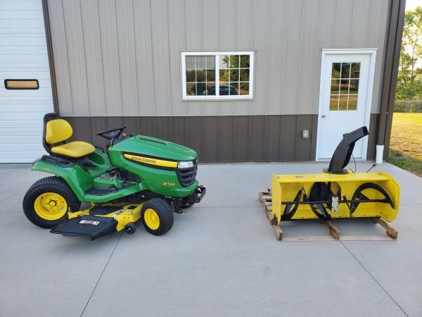Photo John Deere X534 4WS Lawn Tractor 54 Mower47 2-Stage Snowblower - $4,995 (Sioux City, Iowa)