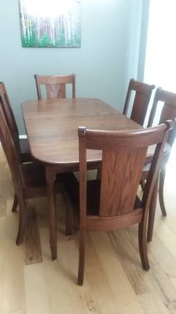 Photo Beautiful Oak Dining Table w 6 Chairs - $1450