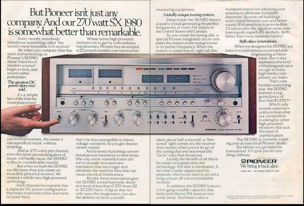 Photo Pioneer SX-1980 Stereo Reciever - $3950 (Sioux Falls, SD)