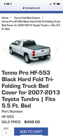 Photo Truck bed cover for 2007-2013 Toyota Tundra with 5.5 bed - $165 (Renner)