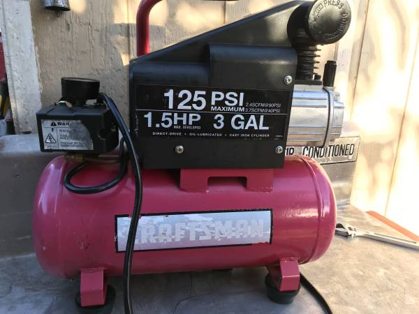Photo Compact Craftsman oil lubed air compressor. Runs great 3 gallons - $100 (Make an Offer)