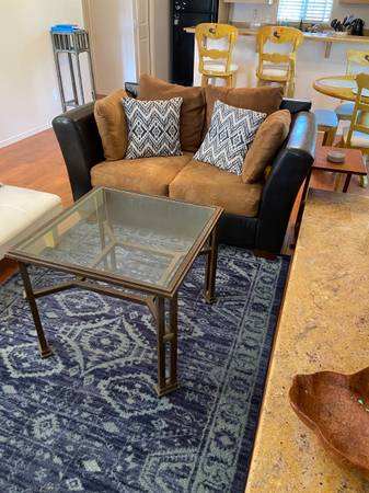 Photo Pottery Barn Glass and Metal End Table- high end and very sturdy - $125 (Mt shasta)