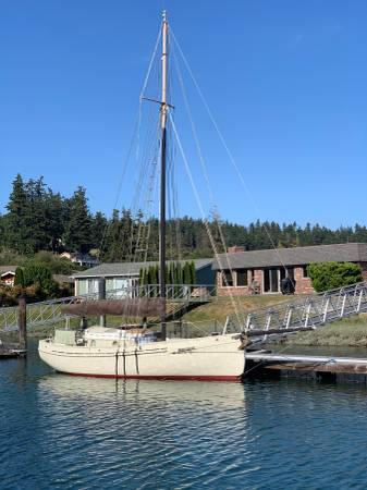 Photo Gaff Cutter -Lyle Hess 26 wooden boat - $28,000 (Oak Harbor)