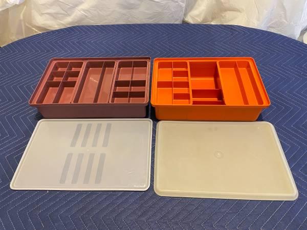 Photo Tupperware Stow-N-Go 4 piece Organizer Sewing or Craft Storage - $10 (Mount Vernon)