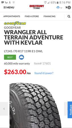 Photo LT-245-70-17 Wrangler Goodyear AT tires - $450 (Acme)
