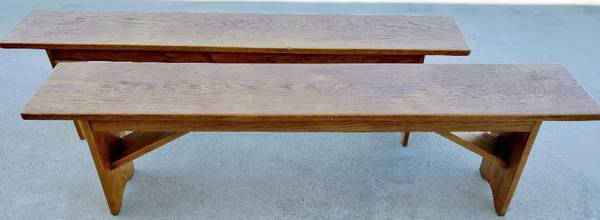 Photo (2) Antique Oak Dining Benches - $195 (Paso Robles)