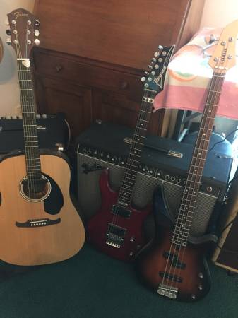 Photo Fender Acoustic Guitar, Ibanez Electric JS series, Yamaha Bass Guitar - $100 (Nipomo)