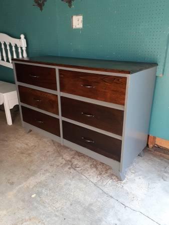 Photo Freshly Refurbished Grey  Stained Wide 100 Oak Dresser - $425 (Nipomo)