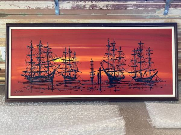 Photo MCM Mid Century Van Gaard Style ships at sunset Drip art oil painting - $175 (paso Robles)