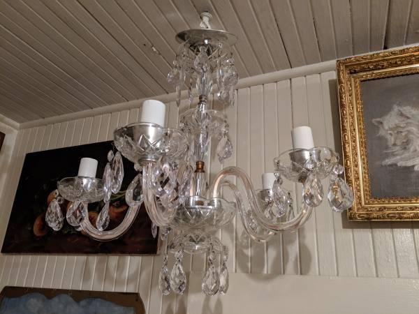 Photo Vintage, Antique Curved Arm Crystal Glass 5 Light Fixture Chandelier - $235 (SLO San Luis Obispo)