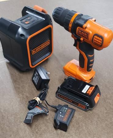 Photo Black decker 20v cordless drill and Bluetooth Speaker - $80 (Lexington Park)