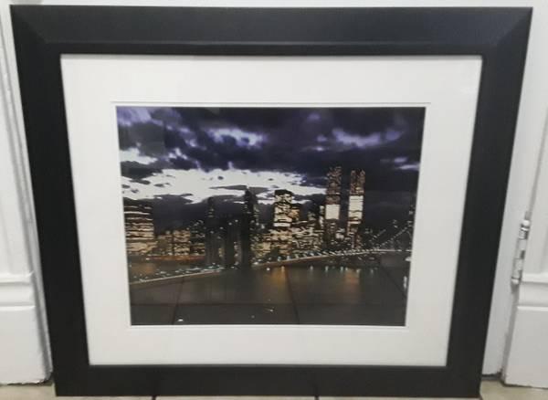 Photo Brooklyn Bridge at dusk framed 1973 print, Dimitri Kessel - $25 (Beverly Morgan park Chicago)