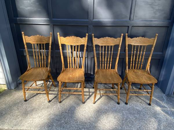Photo 4 Oak Pressed Back Antique Kitchen Chairs Old Man Wind - $400 (East wareham)