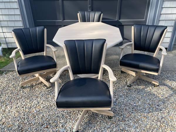 Photo 4 Rolling Chairs with Black Vinyl and Table - $400 (East wareham)