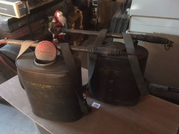 Photo Antique INDIAN BACK PACK FIRE EXTINGUISERS - $125