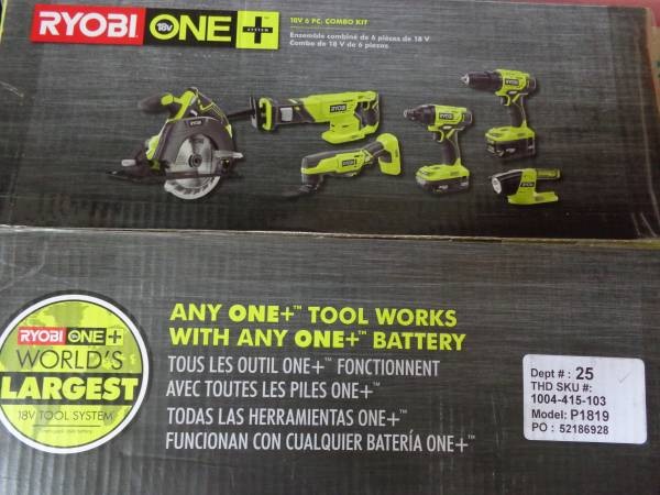 Photo BRAND NEW 6 PC RYOBI 18V COMBO KIT JUST BOUGHT NEVER USED - $250 (SOMERSET)
