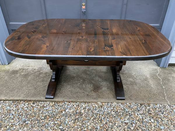 Photo Farmers solid pine farmhouse Trestle table, 6ft, 7ft to 8ft table - $500 (East wareham)