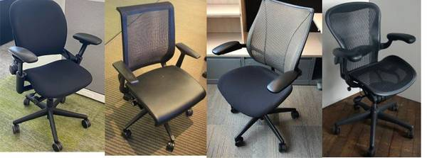 Photo Humanscale Liberty, Steelcase Leap  Think, Herman Miller Aeron Chairs