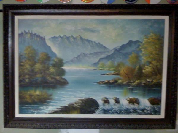 Photo Large H. Thomas Oil Painting in Wood Frame. - $75 (acushnet)