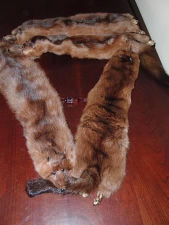 Photo Mink Fur Stole Boa 4-Pelt Dark Brown 2 Vintage - $30 (Westport)