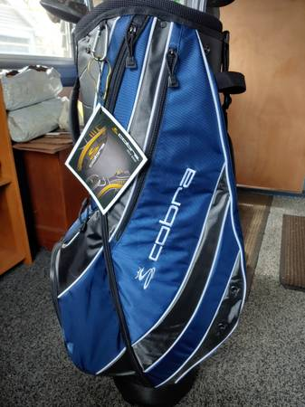 Photo New cobra cart golf bag with ping and Cleveland clubs and Cobra driver - $85 (Taunton)