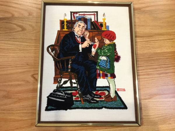 Photo Norman Rockwell Doctor and the Doll needlepoint - $25 (Bourne)